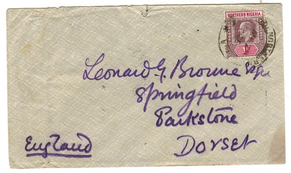 NORTHERN NIGERIA - 1906 1d rate cover to UK used at LOKOJA.