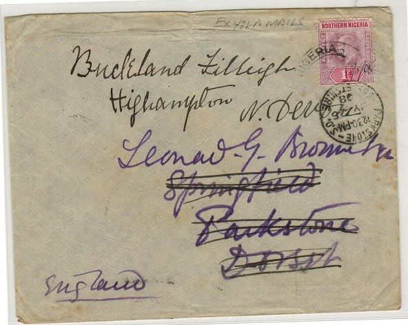 NORTHERN NIGERIA - 1908 1d rate cover to UK with manuscript dating on weak YOLA cds.