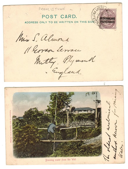 BECHUANALAND - 1904 1d rate postcard use to UK used at FRANCISTOWN.