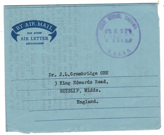 GILBERT AND ELLICE ISLANDS - 1965 FORMULA air letter use to UK with rubber TARAWA/PAID handstamp.
