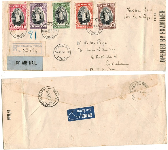 TONGA - 1944 censored cover to Australia used at NUKUALOFA.