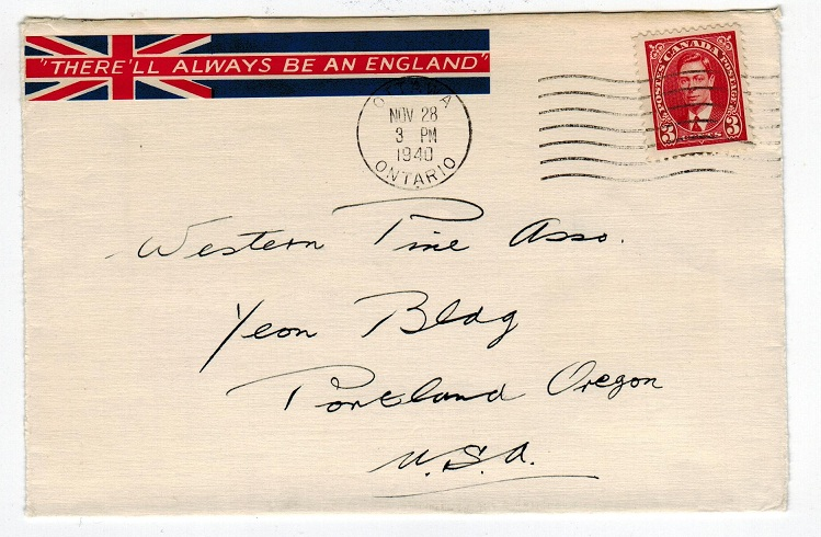 CANADA - 1940 3c cover to USA with THERE ALWAYS BE AN ENGLAND patriotic label tied.