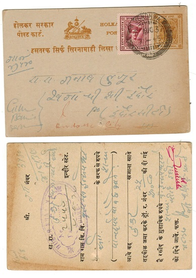 INDIA (Indore) - 1904 1/4a yellow brown PSC uprated locally at SENDWHE.  H&G 4.