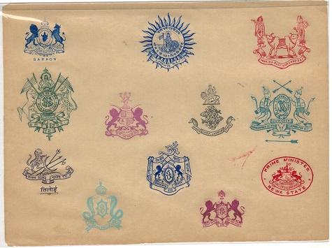 INDIA - 1920 (circa) range of 12 embossed crests of various states and departments applied on piece.
