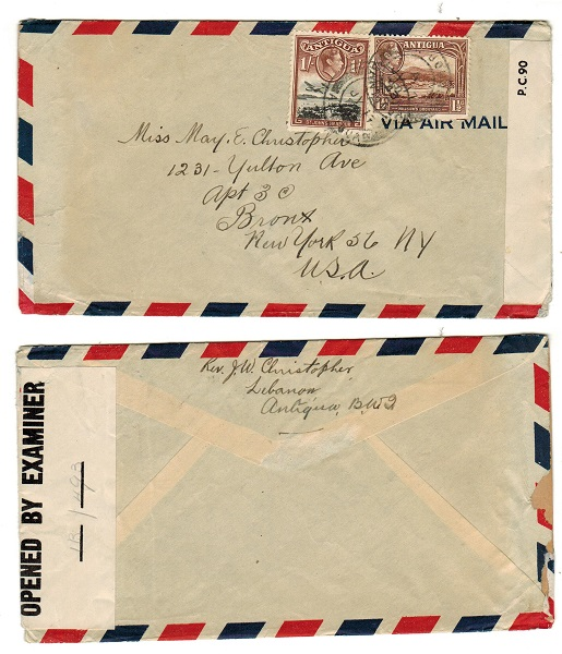 ANTIGUA - 1943 censor cover to USA.