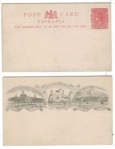 AUSTRALIA (Tasmania) - 1884 1d orange red PSC with INTERNATIONAL EXHIBITION illustration on reverse.