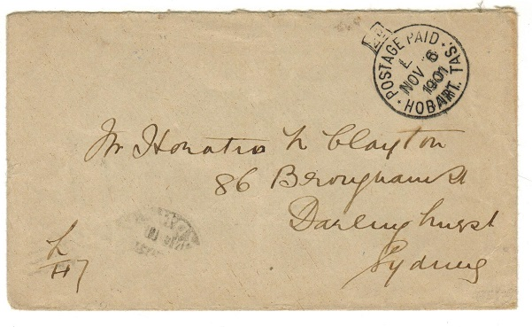 AUSTRALIA (Tasmania) - 1901 stampless cover to Sydney cancelled POSTAGE PAID/HOBART.