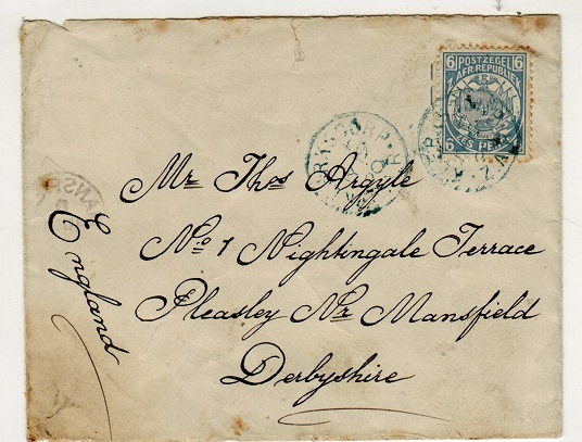 TRANSVAAL - 1900 6d rate cover to UK used at KLERKSDORP and struck with