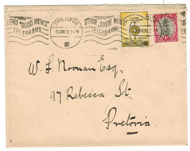 SOUTH AFRICA - 1938 local cover with EUCHARISTIC CONGRESS label.