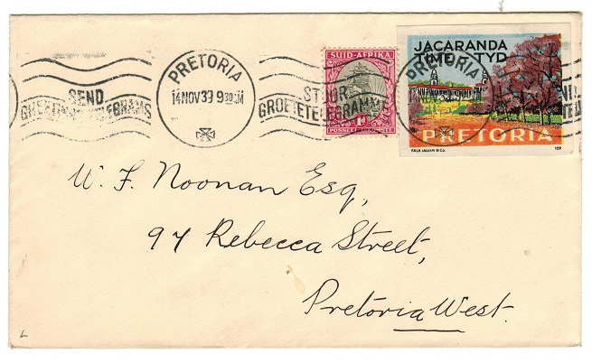 SOUTH AFRICA - 1939 local cover with JACARANDE TIME label.