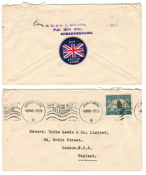 SOUTH AFRICA - 1940 cover to UK with BUY BRITISH GOODS label.