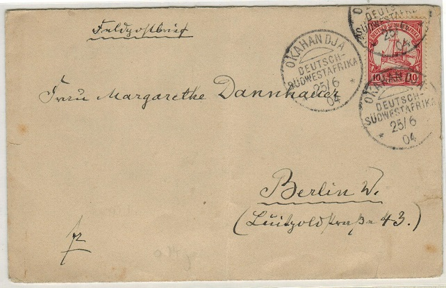 SOUTH WEST AFRICA (German Offices) - 1904 10pfg rate cover to Germany used at OKAHANDJA.