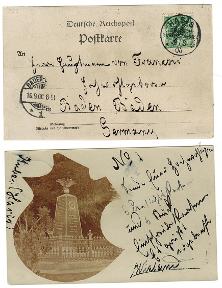 SOUTH WEST AFRICA (German Offices) - 1900 5pfg rate postcard use to Germany used at HASIS.
