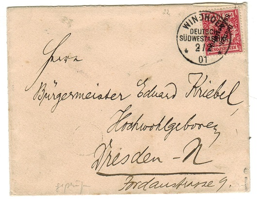 SOUTH WEST AFRICA (German Offices) - 1901 10pfg rate cover to Germany used at WINDHOEK.
