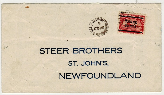 NEWFOUNDLAND - 1920 3c/35c surcharge cover used locally at JOSEPHS SAL.