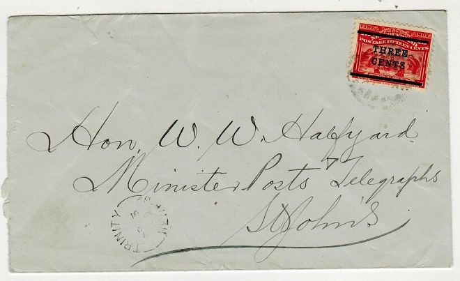 NEWFOUNDLAND - 1920 3c/15c surcharge cover used locally at TRINITY.