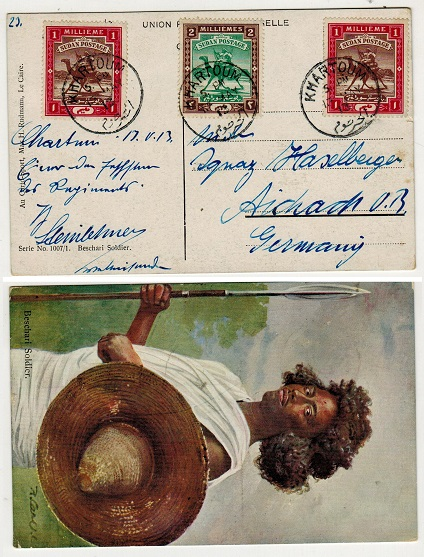 SUDAN - 1913 4m rate postcard use to Germany used at KHARTOUM.