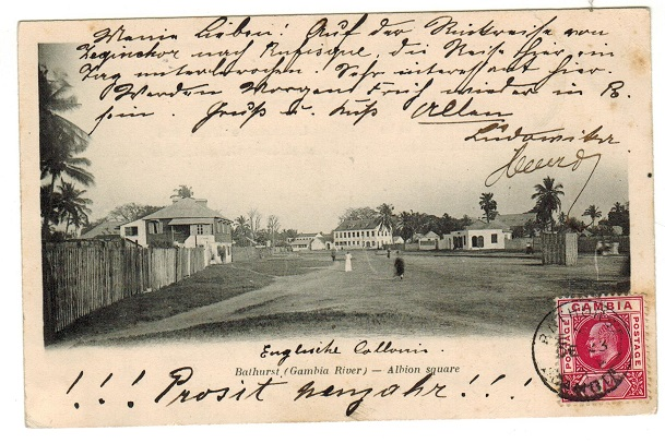 GAMBIA - 1904 1d rate postcard use to Germany used at BATHURST.