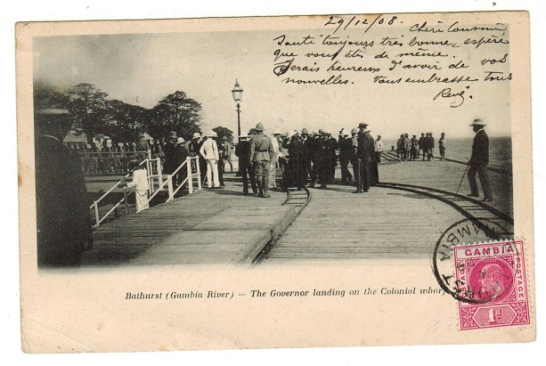 GAMBIA - 1908 1d rate postcard use to France used at BATHURST.