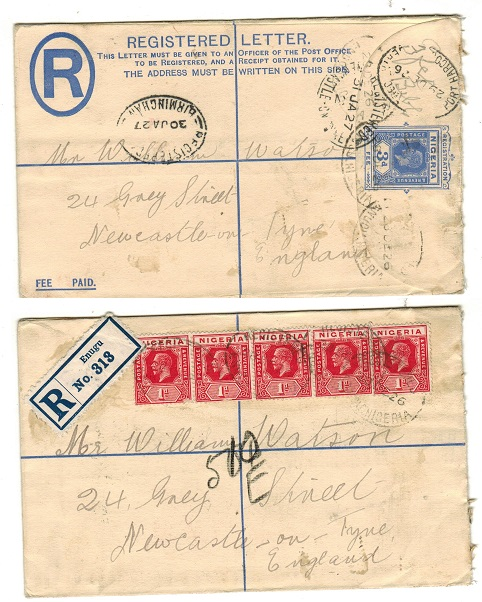 NIGERIA - 1923 3d ultramarine RPSE to UK used at ENUGU.  H&G 2.
