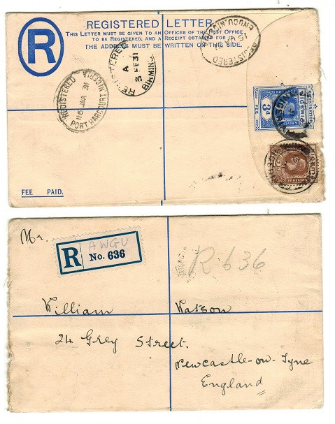 NIGERIA - 1923 3d ultramarine RPSE to UK used at AWGU.  H&G 2.