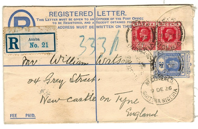 NIGERIA - 1923 3d ultramarine RPSE to UK used at ASABA.  H&G 2.