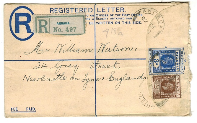 NIGERIA - 1923 3d ultramarine RPSE to UK used at ANOADA.  H&G 2.