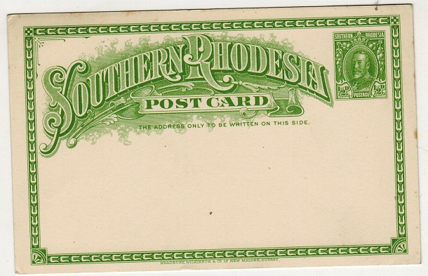 SOUTHERN RHODESIA - 1931 1/2d yellowish green PSC unused.  H&G 3.