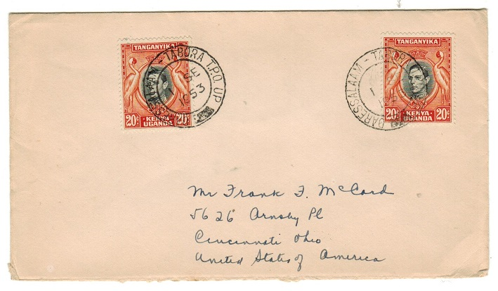 K.U.T. - 1953 40c rate cover to USA used on the DARESSALAM-TABORA TPO UP.
