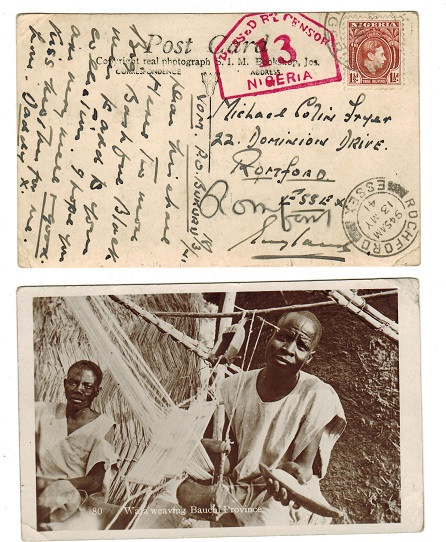 NIGERIA - 1941  1 1/2d rate censor use of postcard to UK used at BUKURU.