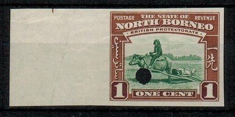 NORTH BORNEO - 1939 1c (SG type 81) IMPERFORATE PLATE PROOF.
