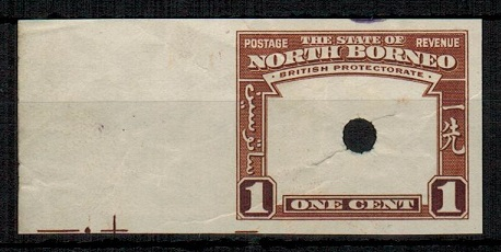 NORTH BORNEO - 1939 1c (SG type 81) IMPERFORATE PLATE PROOF of the frame only.