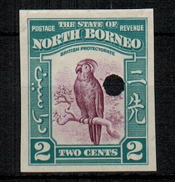 NORTH BORNEO - 1939 2c (SG type 82) IMPERFORATE PLATE PROOF.
