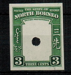NORTH BORNEO - 1939 3c (SG type 83) IMPERFORATE PLATE PROOF of the frame only.