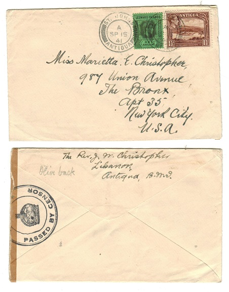 ANTIGUA - 1941 censored cover to USA.