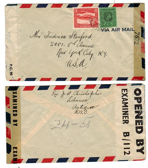 ANTIGUA - 1944 censored cover to USA.