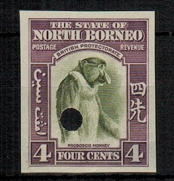 NORTH BORNEO - 1939 4c (SG type 84) IMPERFORATE PLATE PROOF.
