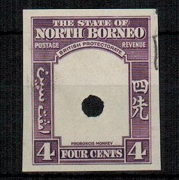 NORTH BORNEO - 1939 4c (SG type 84) IMPERFORATE PLATE PROOF of the frame only.