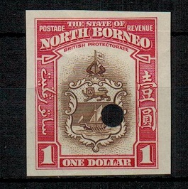 NORTH BORNEO - 1939 $1 (SG type 93) IMPERFORATE PLATE PROOF.