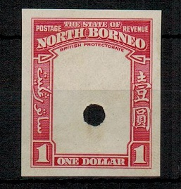 NORTH BORNEO - 1939 $1 (SG type 93) IMPERFORATE PLATE PROOF of the frame only.