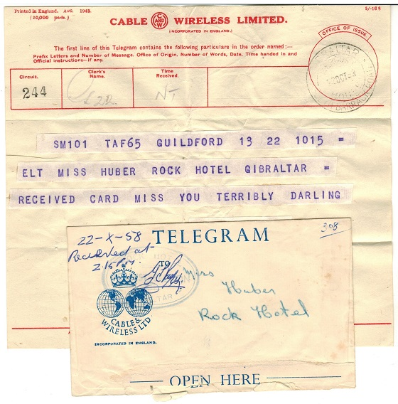 GIBRALTAR - 1958 use of TELEGRAM and envelope used locally.