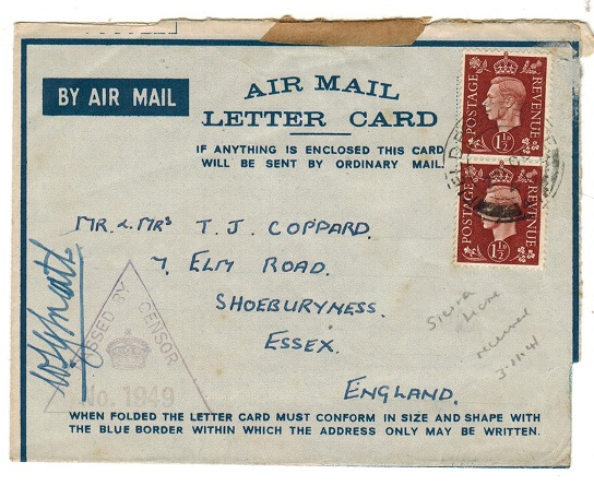 SIERRA LEONE - 1941 use of FORMULA air letter to UK used at FPO 41 and censored.