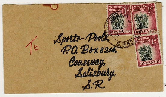 SOUTHERN RHODESIA - 1954 local cover bearing 1d (x3)