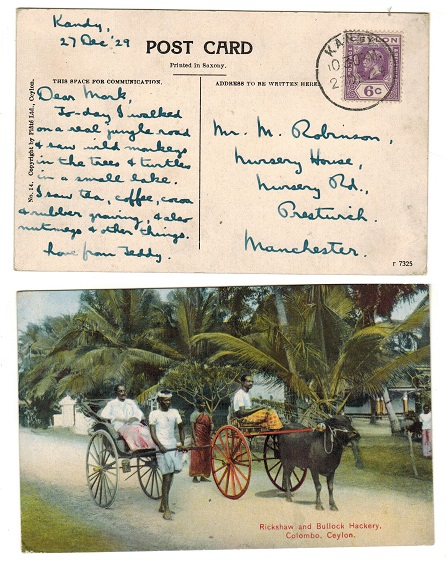 CEYLON - 1929 6c rate postcard use to USA used at KANDY.
