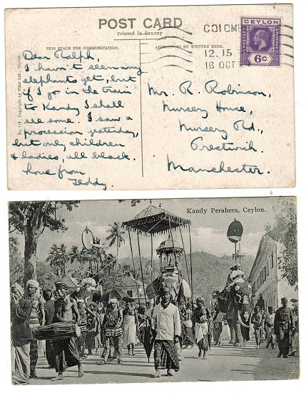 CEYLON - 1929 6c rate postcard use to USA used at COLOMBO.