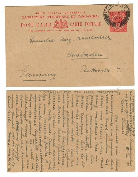 TANGANYIKA - 1927 15c red PSC to Germany used at KOROGWE.  H&G 3.