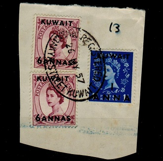 KUWAIT - 1957 piece bearing 1a/1d and 6a/6d (x2) adhesives cancelled MABARAKYA STREET.