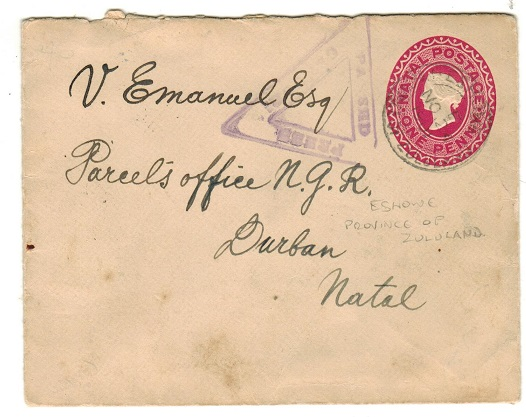 ZULULAND - 1901 1d carmine PSE to Natal used from ESHOWE with Boer War censor handstamp applied.