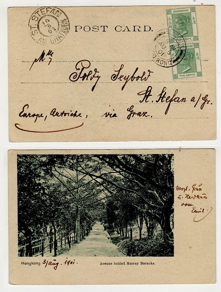 HONG KONG - 1901 4c rate postcard use to Austria used at VICTORIA.