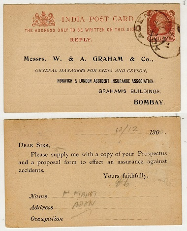 ADEN - 1884 1/4a reply section of the Indian PSRC to Bombay used at ADEN.   H&G 3.
